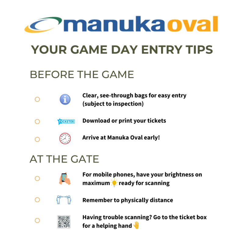 Game Day Entry Tips Manuka Oval